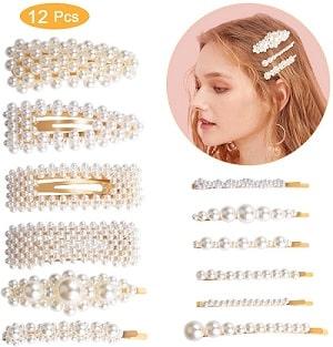 12 Clips de pelo perlas
